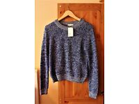 BRAND NEW Women's H&M Navy Blue And White Jumper Size Small (8/10)