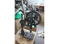Union Hand Cranked Pillar Drill and stand