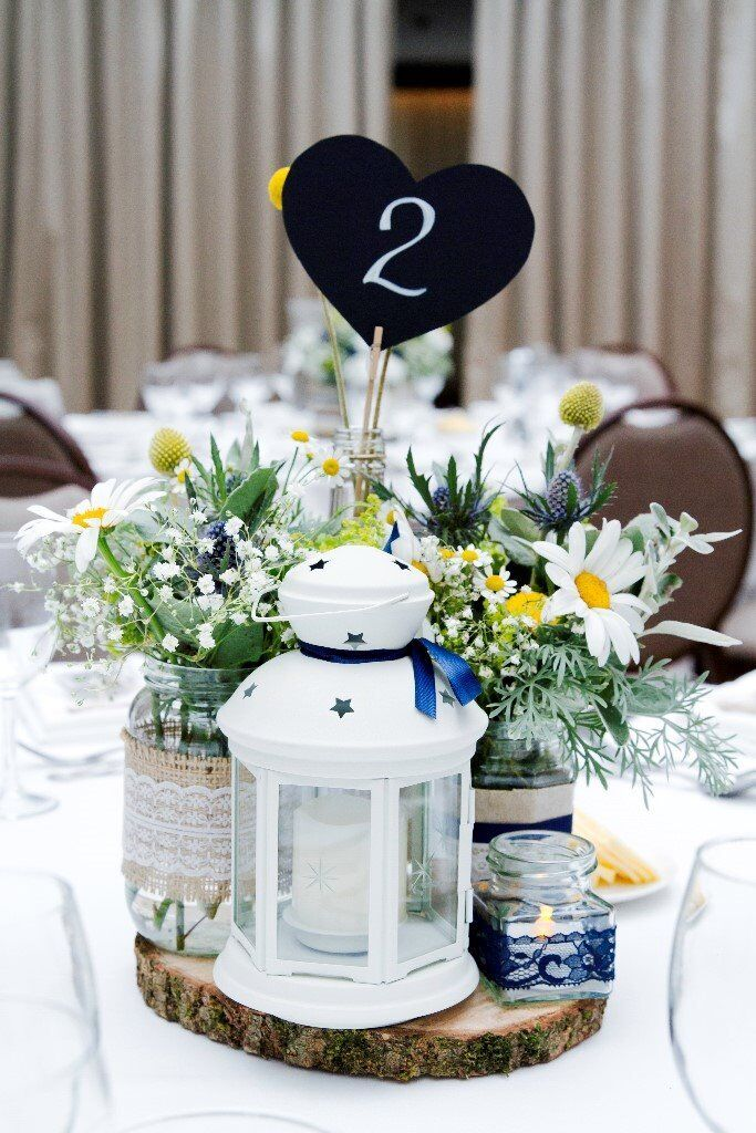 Vintage Style Jam Jar Wedding Decorations Hessian Lace And Navy Unique Wedding Table Decorations Jam Jars