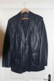 Mens soft blue leather jacket