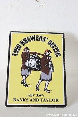 TWO BREWERS BITTER BANKS & TAILOR STEMMA POMPA X  BIRRA VINTAGE BEER  PUMP CLIP