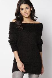 Brand New with Tags Black Bardot off the shoulder Fluffy Jumper By Designer Brave Soul Size UK 16/18
