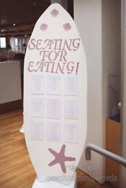Wedding Table Surfboard Seating Plan