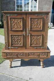 Carved French Oak Cabinet