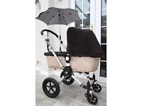 Bugaboo Cameleon pram and pushchair with parasol sun brolly and rain cover.