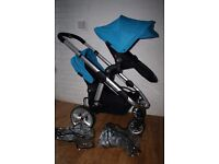 Blue / Black iCandy Apple 2 Pear single / double pram with carrycot *can post*