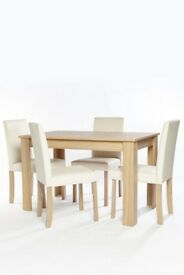 5 Piece Kingston Stylish Oak Effect Dining Table with 4 Faux Leather Chairs Dining Set - Cream