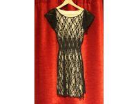 Black Lace Dress with Cream Slip