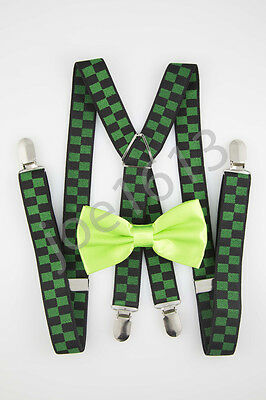 Neon Lime Bow Tie Forest Green And Black Suspender Combo Set Wedding - Neon Suspenders And Bow Tie