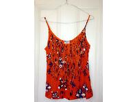 Womens tshirt, Orange, Floral, Size S, Zara