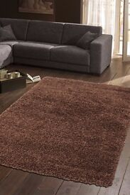 SHAGGY SOFT LARGE RUG CARPET BROWN