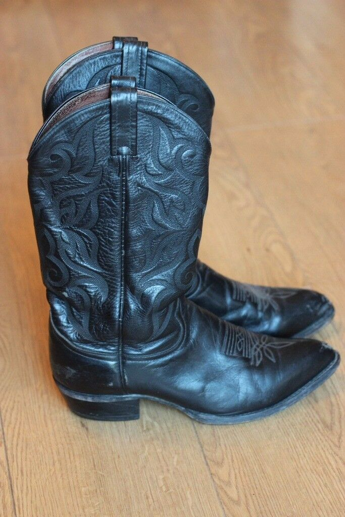 Leather cowboy boots, black, Size 9 UK