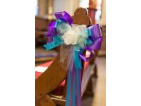 14 Decorative Bows, purple & turquoise - Wedding, Church, Venue