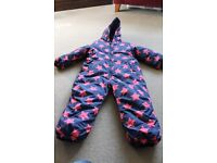 Next navy and pink snowsuit with hood. Size 3-4 years.