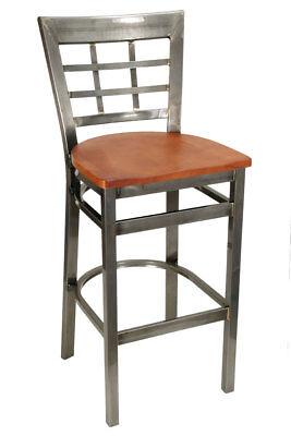 New Gladiator Clear Coat Window Pane Metal Restaurant Bar Stool Cherry Seat