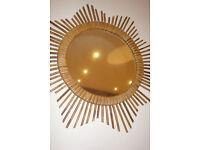 Unique collection of seven vintage French rustic sunburst/starburst mirrors