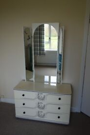 Retro Dressing Table w/ Mirror & 3 Chest of Drawers Vintage Cream 60s Shabby Chic Mid Century 50s