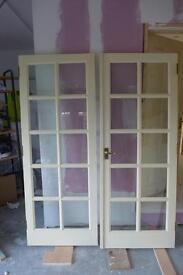 Set of Internal Double Doors, wood and glass