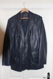 Mens soft blue leather jacket