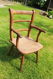 Antique vintage childs wooden pine chair - rustic shabby chic