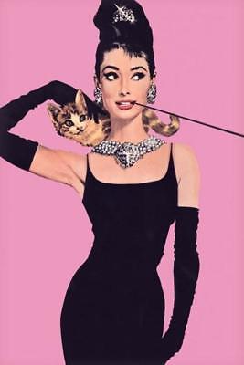Audrey Hepburn Breakfast Tiffanys Cat Shoulder Cigarillo Diamond Poster 24x36 (Audrey Hepburn Breakfast)