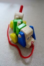 Baby Pull-along Wooden Dog Toy