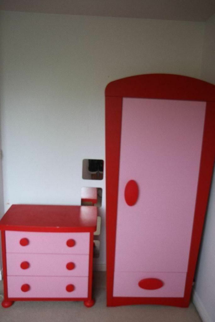 Girls Pink Ikea Mammut Pink Wardrobe Bed And Chest Of