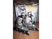 Inline dark grey skates, childrens size 12