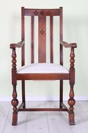 LOVELY OLD ANTIQUE CARVER CHAIR SOLID OAK - CAN COURIER