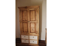 Large Solid Pine Wardrode with cream painted drawers (Mexican/Corona/Shabby chic)