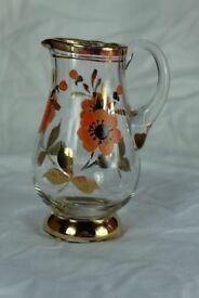 Mid-century milk jug / creamer with gold trim and floral design