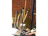 Lot of several garden tools.