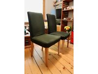 2 x Oak dining chair w/ removable cover (Dark green; IKEA Henriksdal)