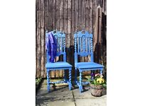 Near Pair of Vintage Chalk Painted Carved Oak Chairs, Painted With Annie Sloan Greek Blue Paint
