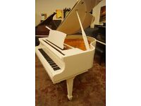 Brand new Bentley baby grand piano in white with matching stool and free UK delivery - Youtube demo