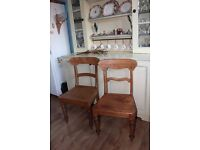 2 antique spoon back kitchen chairs, made from solid oak