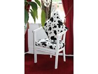 Upcycled Crafted Shabby Chic Dalmatian Chair Unique Handmade Design with Cushion
