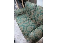 Patterned Green Two Seater Sofa