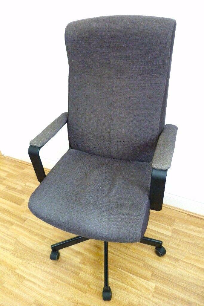 Ikea Malkolm Like Millberget Office Swivel Chair In Black Fabric
