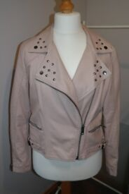 Henry Holland Pale Pink Leather Jacket. Size 16