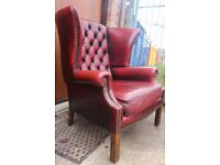 Vintage chesterfield wing armchair