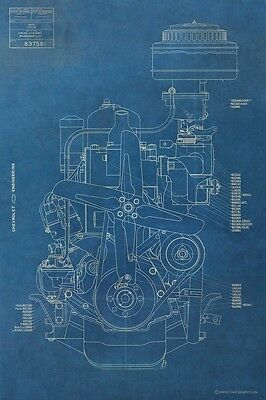 Vintage Chevy Engine BLUEPRINT Antique Chevrolet Motor Mancave Art Poster Garage