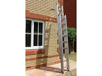 Three section extension ladder with stand off