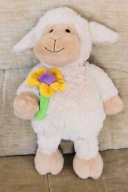 Very Soft Cuddly Toy Lamb with Daisy Flower, 14 inches high, Histon