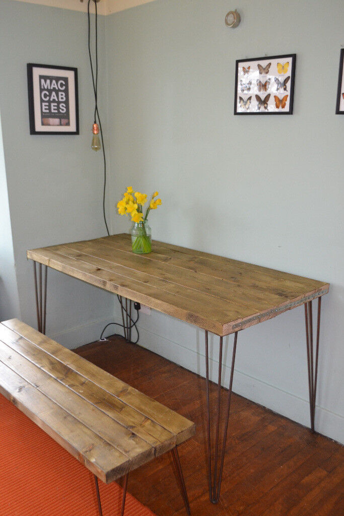 Industrial Kitchen Table and bench Mid Century Style hairpin