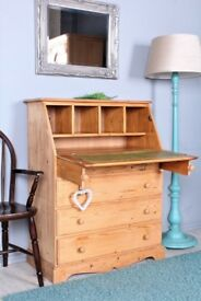 DELIVERY OPTIONS - SOLID PINE WRITING BUREAU WAXED WITH DRAWERS & SUPPORT RODS