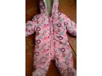 3-6 mths Girls Designer Butterfly Debenhams All-in-one/pramsuit EXCELLENT CONDITION