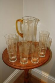 Vintage glass water set: jug and six glasses