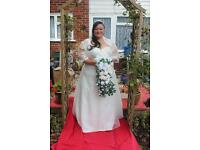 beautiful ivory plus size slimming wedding dress includes lace belero top