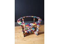 Shabby chic handpainted scandinavian style round coffee table frame
